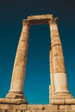 Impressive columns with architrave. Remains Hercules Temple. Ancient architecture. Tourist attraction. Sightseeing tour. Famous hi. Photo of the Impressive Royalty Free Stock Photos