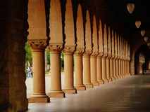 Impressive columns at Stanford. California. Amber sculpted stones Stock Photography