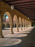 Impressive columns at Stanford. California. Amber sculpted stones Stock Photo