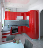 Impressive curved kitchen mid century color accents, 3D render Stock Photos