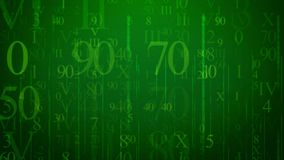 Abstract cyber letters illustration. An impressive 3d illustration of falling numbers and symbols in the light green background with a grid. Different numbers of Stock Photos