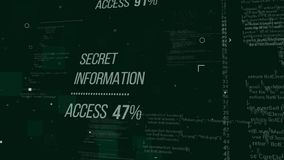 Pop art hackers code illustration. Impressive 3d illustration of hackers code with an inscription Secret Information Access 47%.  The background is a dark green Royalty Free Stock Image
