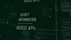 Pop art hackers code illustration. Impressive 3d illustration of hackers code with an inscription Secret Information Access 47%.  The background is a dark green vector illustration