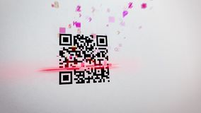 Abstract QR code scanner illustration. Impressive 3d rendering of an abstract QR code scanning process with flying symbols, numbers, figures of a pink color. The Stock Photography