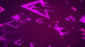 Abstract and aggressive arrows aimed left. Impressive 3d rendering of big and small arrows of a pink color offencing left obstacle with a lot of x and y located stock illustration