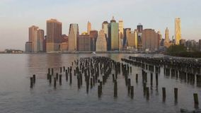 Impressive day to night time lapse panorama view on New York Manhattan downtown seascape modern architecture skyline stock video footage