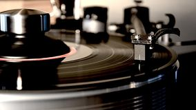 Impressive detailed close up loop view on vintage retro vinyl album black old record player gramophone on turntable. Fascinating detailed close up loop view on stock video
