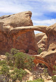 The impressive double arch at Arches state park stock photography