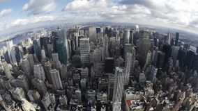Impressive fish eye time lapse panorama view on modern architecture towers skyscrapers of New York Manhattan downtown stock footage