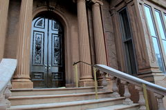 Impressive front entrance of historic Victoria Mansion,Portland,Maine,2016 Stock Photos