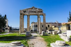 The gate of Athena Archegetis in the Roman Market in Athens Greece. The impressive Gate of Athena Archegetis lies on the west side of the Roman Agora. This Royalty Free Stock Photo