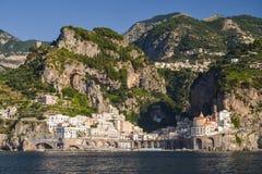 Impressive gorgeous view of town atrani on amalfi coast, italy Stock Image