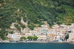 Impressive gorgeous view of town cetara on amalfi coast, italy Stock Photo