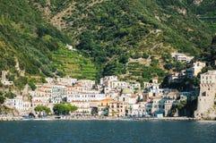 Impressive gorgeous view of town cetara on amalfi coast, italy Royalty Free Stock Photos