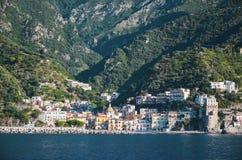 Impressive gorgeous view of town cetara on amalfi coast, italy Stock Photos