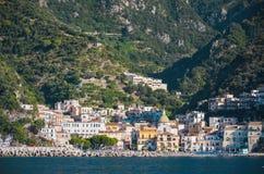 Impressive gorgeous view of town cetara on amalfi coast, italy Royalty Free Stock Image