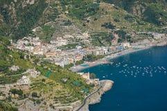 Impressive gorgeous view of town maiori on amalfi coast, italy Stock Images