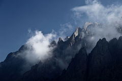 Impressive high mountain view (Corsica, France). Impressive high mountain view - mountain peaks in mist Stock Images