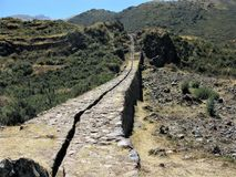 Impressive Inca stone water channel at Tipon near Cusco, Peru Stock Photography