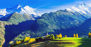 Impressive Italian Alps in Valle d`Aosta with small villages. No Stock Images