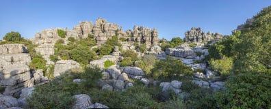Impressive karst landscapes at Torcal de Antequera, Malaga, Spai Royalty Free Stock Image