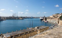 Impressive landcape of the port of Valletta, Malta Stock Photos