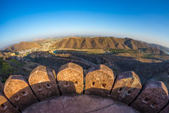 The impressive landscape and cityscape from above at Amber Fort, famous travel destination in Jaipur, Rajasthan, India. Fish eye a Stock Images