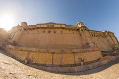 The impressive landscape and cityscape at Amber Fort, famous travel destination in Jaipur, Rajasthan, India. Fish eye ultra wide a Stock Images
