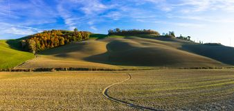 Picturesque rural landscapes of Tuscany, Crete senesi, Italy Stock Photography