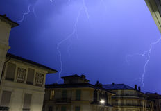 Impressive Lightning in a Night Sky Stock Photography