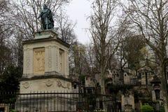 Impressive mausoleums on quiet walkways, Pere La Chaise Cemetery, Paris, France, 2016 Stock Photos