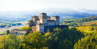 Impressive medieval castle in Torrechiara (near Parma) Italy Stock Photo