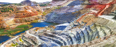 Impressive mines and canyon in Milos island Royalty Free Stock Images