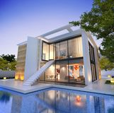 Impressive modern house with pool and staircase royalty free stock photos