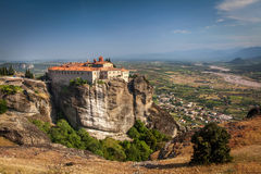 Impressive monastery construction on high hill at Meteora Stock Photo