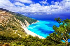 One of the most beautiful beaches of Greece- Myrtos bay in Kefal Royalty Free Stock Photo