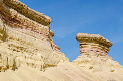 Impressive natural canyon in the Namibe Desert of Angola. The sandstone has been eroded over thousands of years into its current shapes Royalty Free Stock Photo