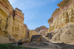 Impressive natural canyon in the Namibe Desert of Angola. The sandstone has been eroded over thousands of years into its current shapes Royalty Free Stock Photos
