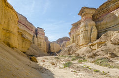 Impressive natural canyon in the Namibe Desert of Angola Royalty Free Stock Image