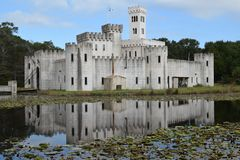 Impressive Newman's Castle Fortress In Bellville Texas USA With Moat Draw Bridge And Tower Royalty Free Stock Photography