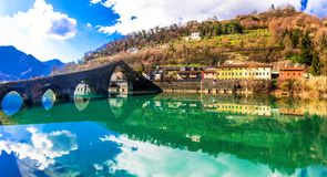 Ponte Diavolo - pictorial medieval Devil`s bridge near Lucca, Tu Royalty Free Stock Image