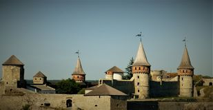 An impressive old castle-fortress in Kamianets-Podilskyi, Ukraine royalty free stock photography