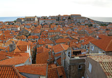 Impressive Orange Colored Tiled Rooftops of Dubrovnik Old City Stock Images