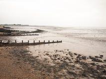 Impressive overcast seaside beach scene groynes pebbles mudflats Royalty Free Stock Images