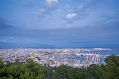 Impressive Palma, Majorca, Spain. Shot from bellver castle. Cloudy sky at dusk over Palma in Majorca island, shot from bellver castle, Spain Royalty Free Stock Photos