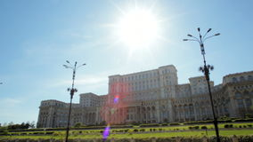 Impressive panorama of the Parliament Building in Bucharest, Capital of Romania
