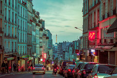 Impressive parisian city street scene with Eiffel Royalty Free Stock Images