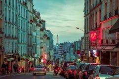 Impressive parisian city street scene with Eiffel Royalty Free Stock Images