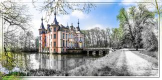 Romantic castles of Europe . Poeke castle in Belgium. Impressive Poeke castle,artistic picture,Belgium Royalty Free Stock Photos