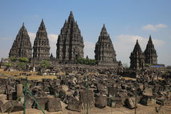 The impressive Prambanan Hindu temple complex Royalty Free Stock Photos